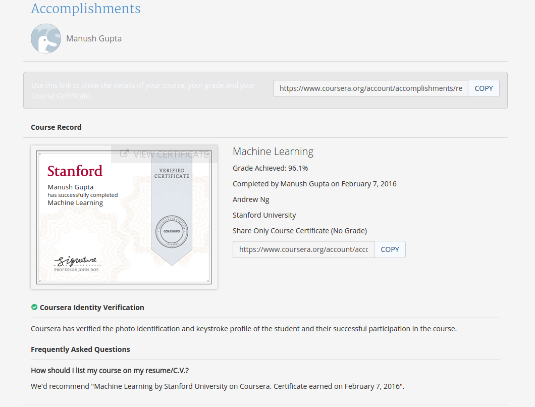 Andrew Ng Stanford Machine Learning Coursera - The Best Machine